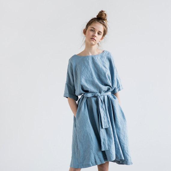 not PERFECT LINEN   OVERSIZED LOOSE LINEN SUMMER DRESS (swedish blue)   着丈95cm【リネン 麻 ナチュラル リトアニア 北欧 東欧 シンプル おしゃれ】