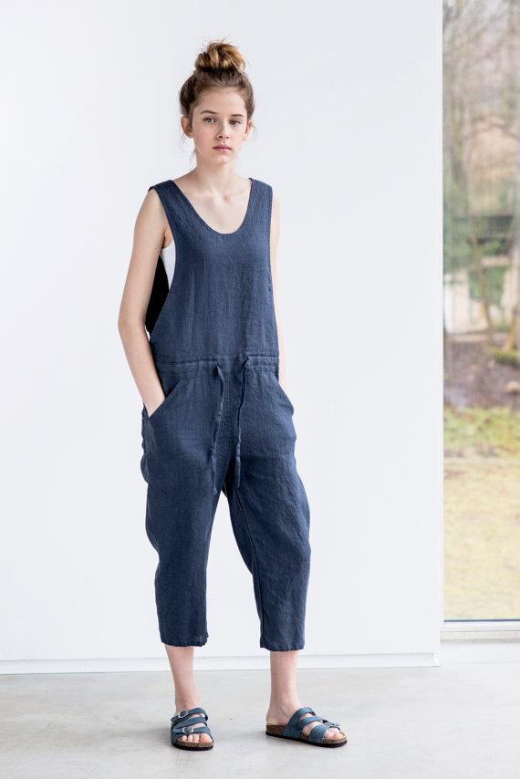 not perfect linen loose linen jumpsuit charcoal uk8. Black Bedroom Furniture Sets. Home Design Ideas