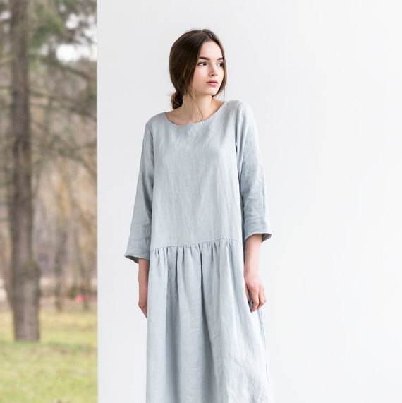 not PERFECT LINEN   Linen dress with sleeves and DROP SIDES (silver grey)   着丈95cm
