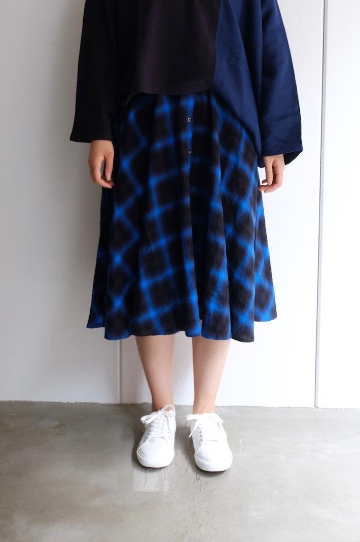 youMoLaugh | オンブレーチェックSK (blue) | スカート