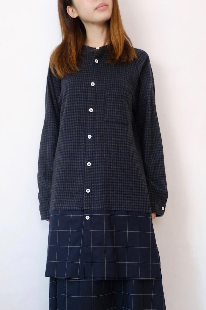【SALE セール】Hiroyuki Watanabe | オンクルパジャマシャツ (navy) | トップス【大人 シンプル カジュアル チェック】