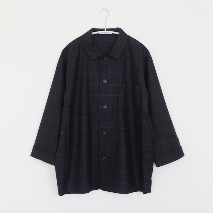 【SALE セール】LAITERIE | フランネルチェックパジャマシャツ (NAVY) | トップス