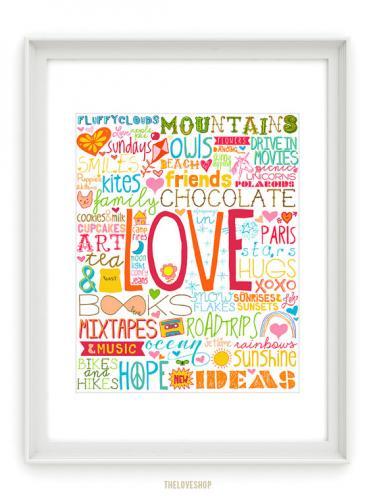 オーストラリアはメルボルンのブランド The Love 大特価 Shopのタイポグラフィ THE LOVE SHOP 50 REASONS TO BE ポスター 使い勝手の良い おしゃれ 北欧 シンプル A3 of Rainbow HAPPY アートプリント インテリア Colour