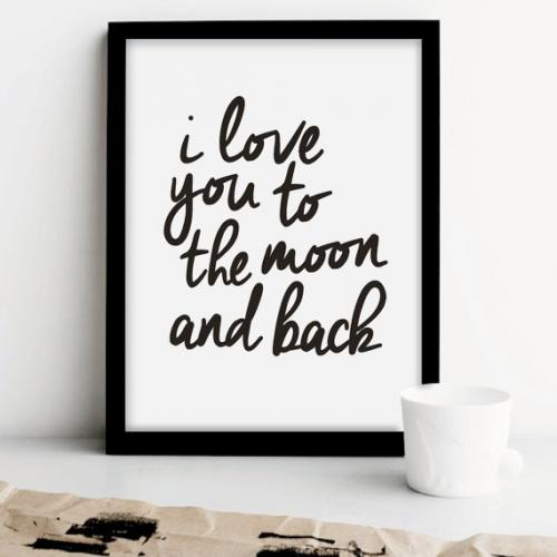 UKのイラストレーターによるヴィンテージ ディスカウント タイポグラフィ THE MOTIVATED TYPE I 販売 LOVE YOU A3 BACK ポスター MOON AND アートプリント TO