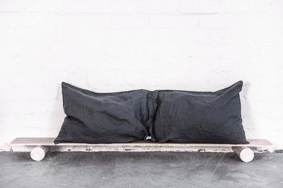 メール便送料無料 not PERFECT 日本 LINENのピローケース LINEN PILLOW モデル着用 注目アイテム 2枚セット 枕カバー CASE ピローケース charcoal