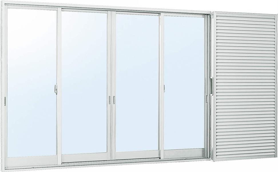 雨戸付 アルミサッシ W2550×2230 (25122-4) 複層ガラス