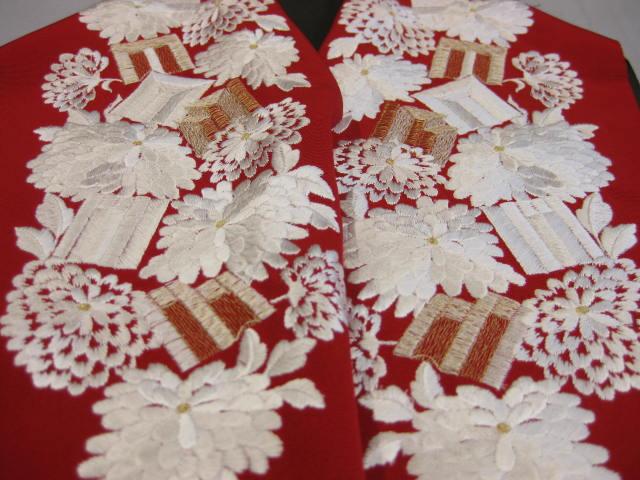 紅赤正絹刺繍半衿-A