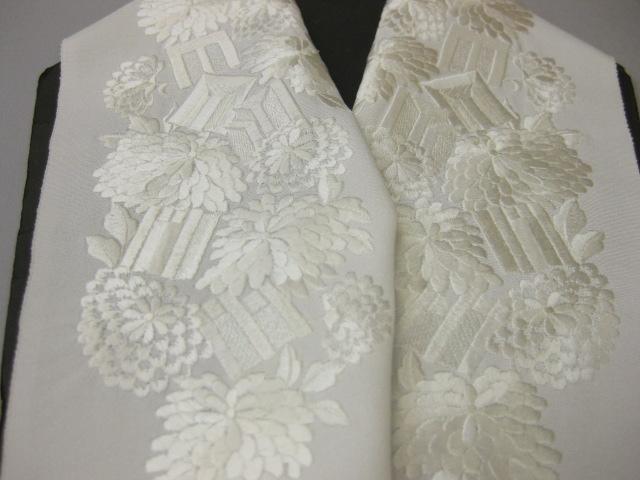 正絹刺繍半衿-KA-10・白地/白