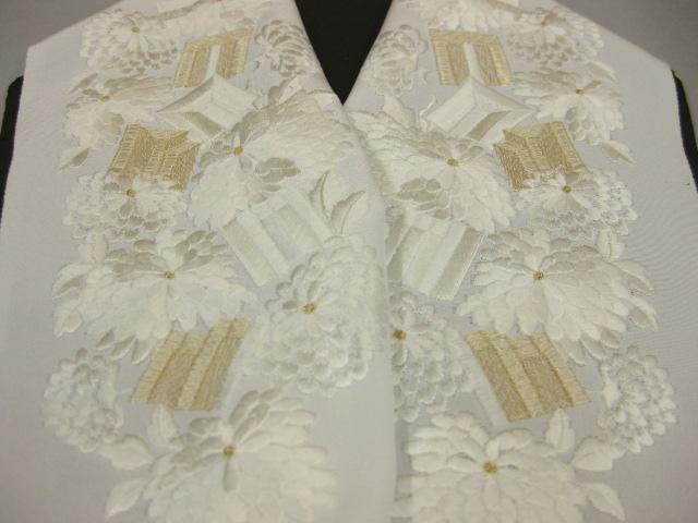 正絹刺繍半衿-KA-11・白地/白・金