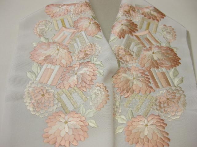 正絹刺繍半衿-KA-11・白地/ピンク