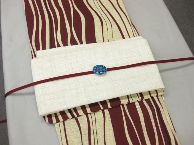 レディース浴衣・ よろけ(エンジ)柄ゆかた細帯 帯留4点セット-紗白細帯