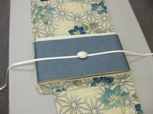 送料無料!女性用・レディース浴衣・デニム細帯 桔梗(ブルー)柄浴衣 帯留 4点セット