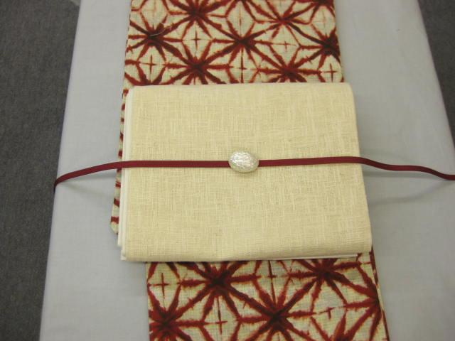 限定品!絞り風・麻の葉(エンジ)柄-浴衣セット・きびら麻京袋帯