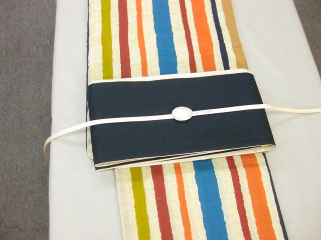 女性 浴衣 縞柄浴衣・B/B・麻ブルー細帯