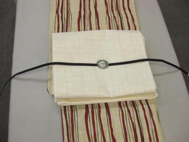 送料無料 紗袋帯と綿麻浴衣4点セット・よろけ縞エンジ