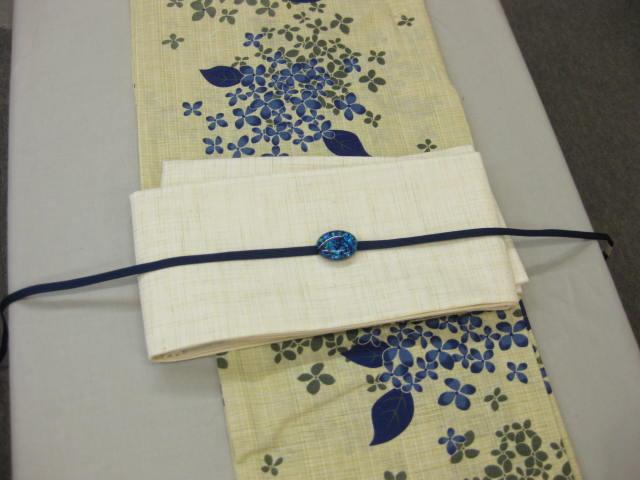女性 浴衣 紫陽花(ブルー)浴衣細帯 帯留4点セット-紗生成り細帯