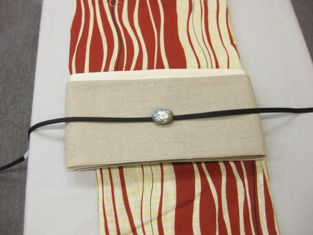 レディース浴衣・よろけ縞柄(エンジ)浴衣セット・生成り麻細帯