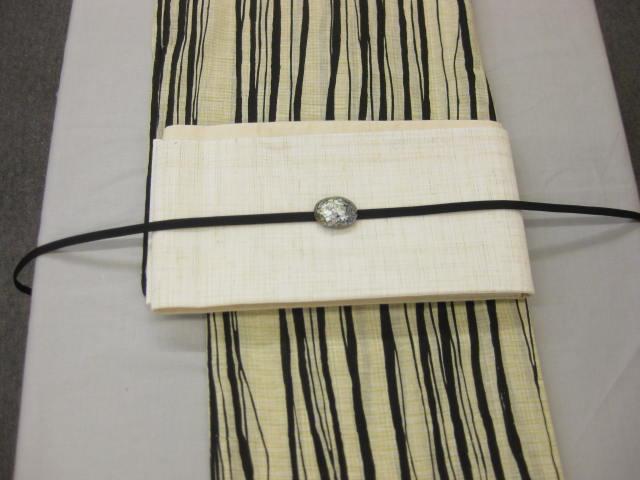 女性用・レディース浴衣・ よろけ縞(黒)浴衣細帯 帯留4点セット-紗細帯