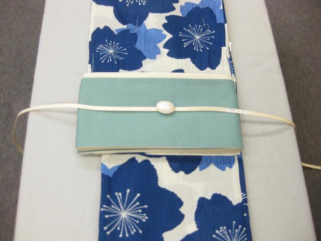 女性用・レディース浴衣・ さくら柄(藍色)浴衣細帯 帯留4点セット 綿細帯