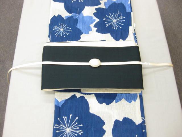 女性用・レディース浴衣・ さくら柄(藍色)浴衣細帯 帯留4点セット 綿細帯(紺)