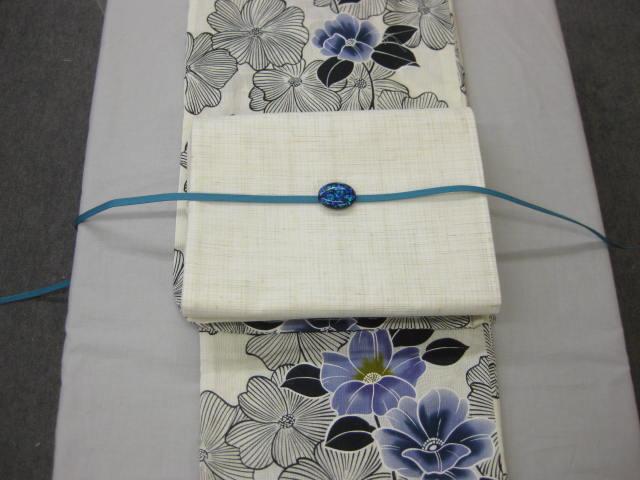 送料無料女性用 レディース 紗しゃれ袋帯と綿麻浴衣4点セット 鉄線-紺