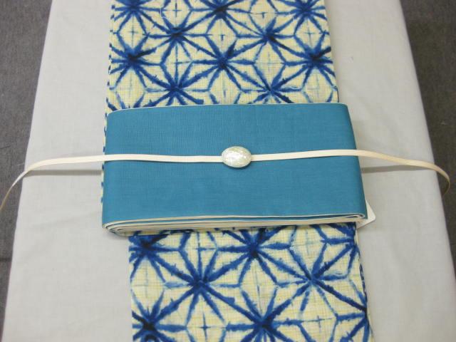 絞り風・麻の葉・藍色 浴衣帯留4点セット-麻細帯ターコイズブルー