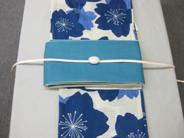 女性用・レディース浴衣・ さくら柄(藍色)浴衣細帯 帯留4点セット・ターコイズブルー細帯