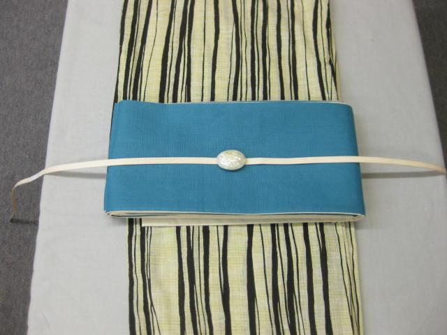 レディース・女性 浴衣 古典柄 縞柄 浴衣細帯 帯留4点セット・ターコイズブルー麻細帯・帯留・帯締め 4点セット