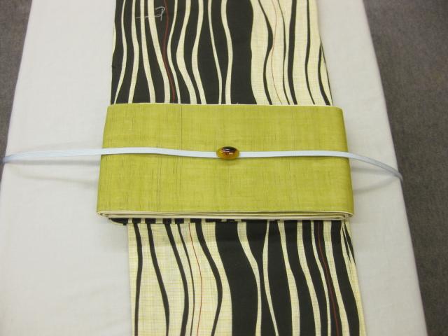 女性用・レディース浴衣・よろけ縞柄浴衣細帯 帯留4点セット-きびら麻細帯-鶯色