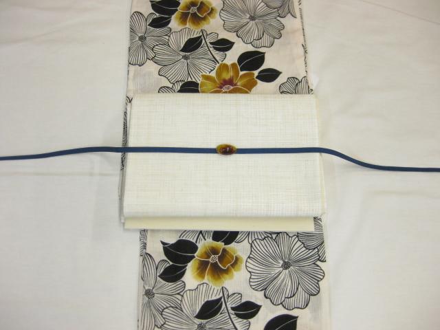 送料無料女性用 レディース 紗しゃれ袋帯と綿麻浴衣4点セット 鉄線柄-からし色