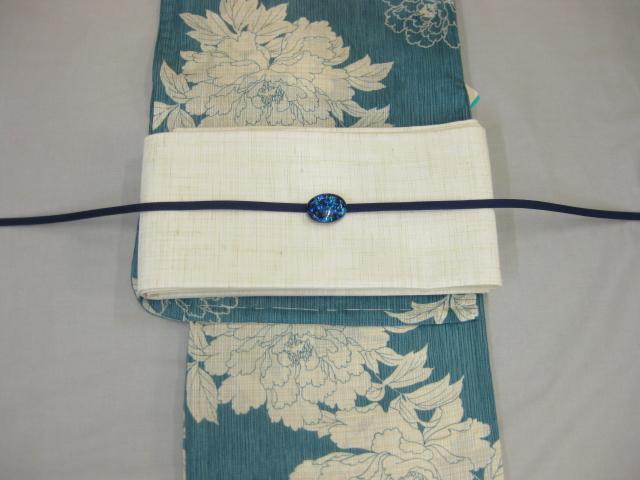 女性 レディース浴衣 古典柄ブルー浴衣細帯 帯留4点セットA-紗細帯