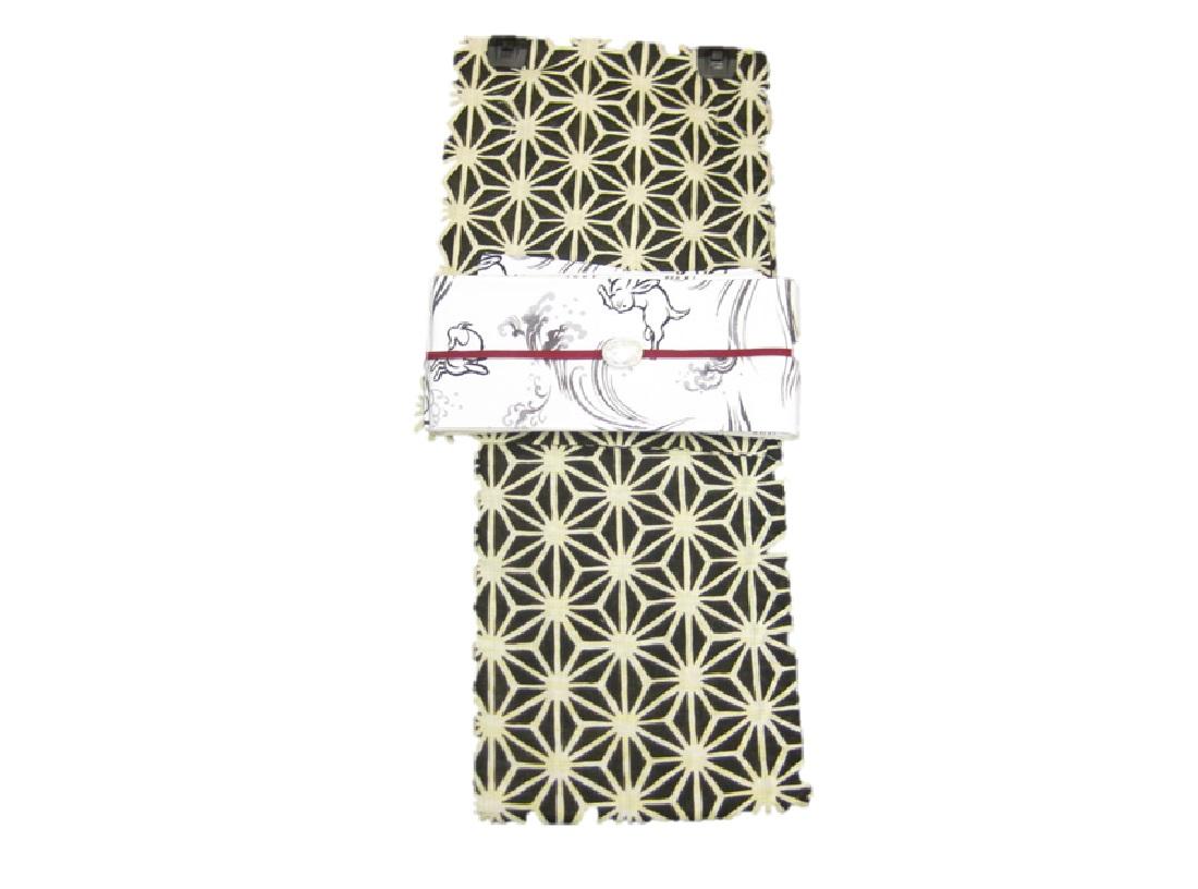 女性用・レディース浴衣・ 黒地麻の葉柄浴衣細帯 帯留4点セット うさぎ細帯