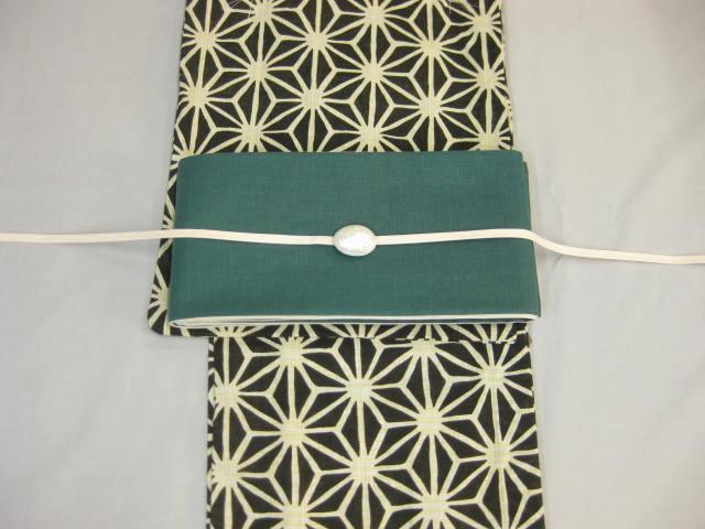 女性用・レディース浴衣・ 黒地麻の葉浴衣細帯 帯留4点セット-麻細帯-グリーン