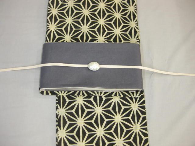 女性用・レディース浴衣・ 黒地麻の葉浴衣細帯 帯留4点セット-麻細帯-グレー