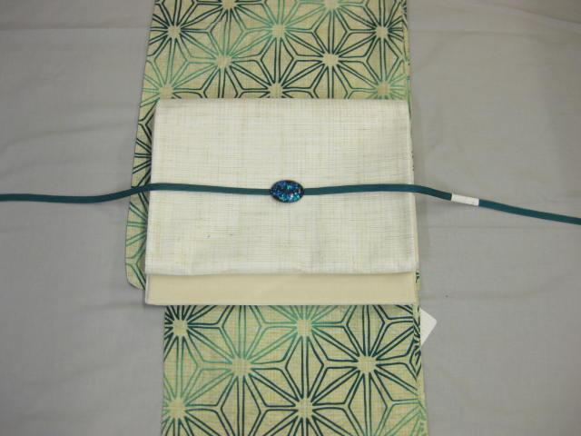 送料無料・女性用・レディース浴衣・麻の葉浴衣(サックス)・紗京袋帯