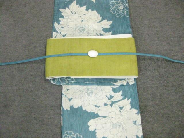 女性用・レディース浴衣 ブルー地牡丹柄浴衣・鶯色・麻細帯・帯留 帯締め4点セット