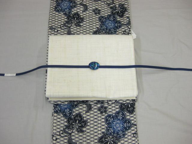 送料無料女性用 レディース しゃれ袋帯(黒)と綿麻浴衣4点セット 古典柄