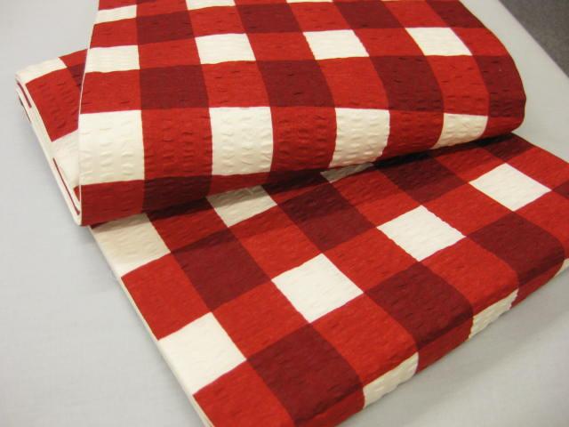 格子柄京袋帯・赤