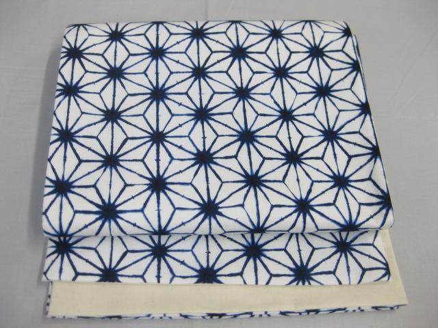 仕立て上がり京袋帯・麻の葉柄・白地・藍色
