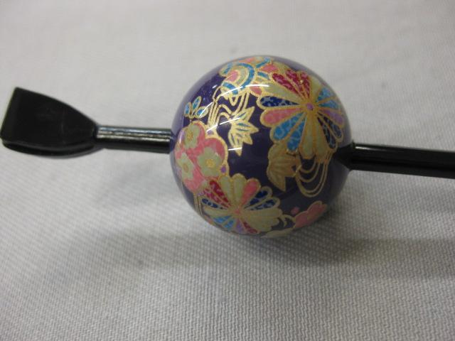 粋 バーゲンセール 蒔絵玉かんざし―紫-千代紙簪 限定価格セール