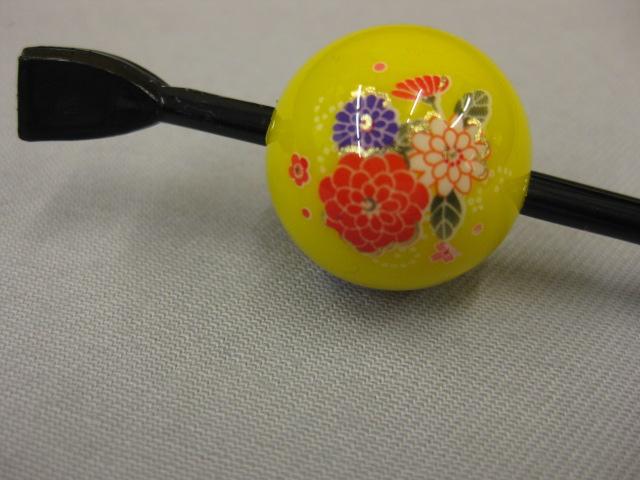 粋 蒔絵玉かんざし-黄色 賜物 いよいよ人気ブランド 菊簪