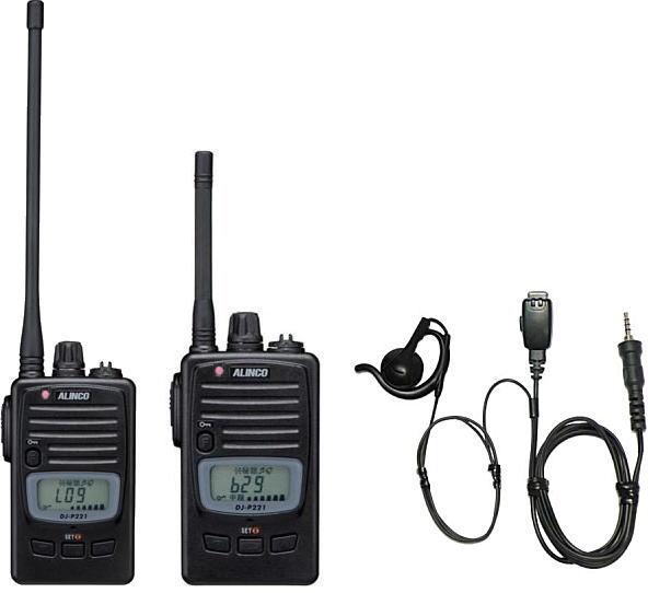 トランシーバー 特定小電力無線機 インカムアルインコ トランシーバー DJ-P221 M/L + HD-24S2 耳掛け式 イヤホンマイク セット
