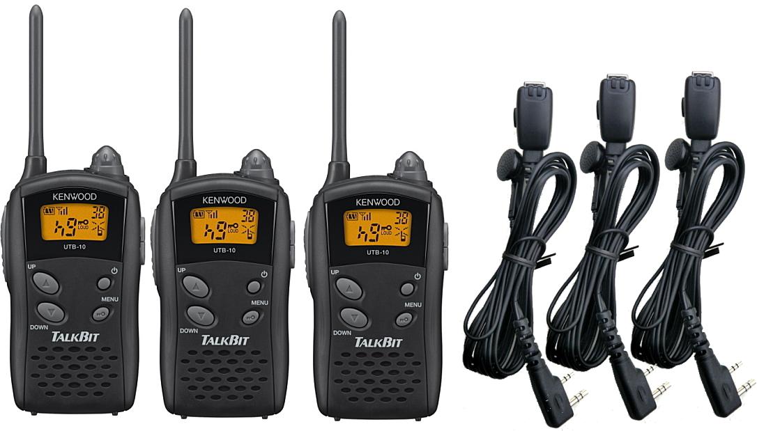 トランシーバー 特定小電力 無線機 ケンウッド インカム☆ケンウッド UTB-10×3 HD-24K2イヤホンマイク×3セット