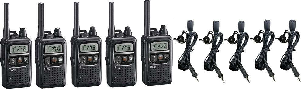 5台セット IC-4350 特定小電力無線機 インカム 無線 無線機 コンパクトアイコム/トランシーバー IC-4350×5 + HD-24S2耳掛け式イヤホンマイク×5セット
