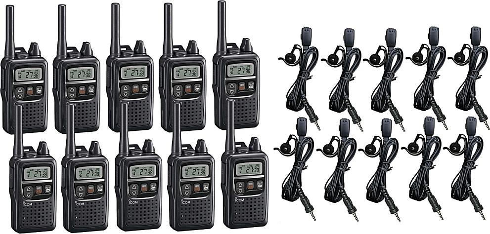 10台セット IC-4350 特定小電力無線機 インカム 無線 無線機 コンパクトアイコム/トランシーバー IC-4350×10 + HD-24S2耳掛け式イヤホンマイク×10セット
