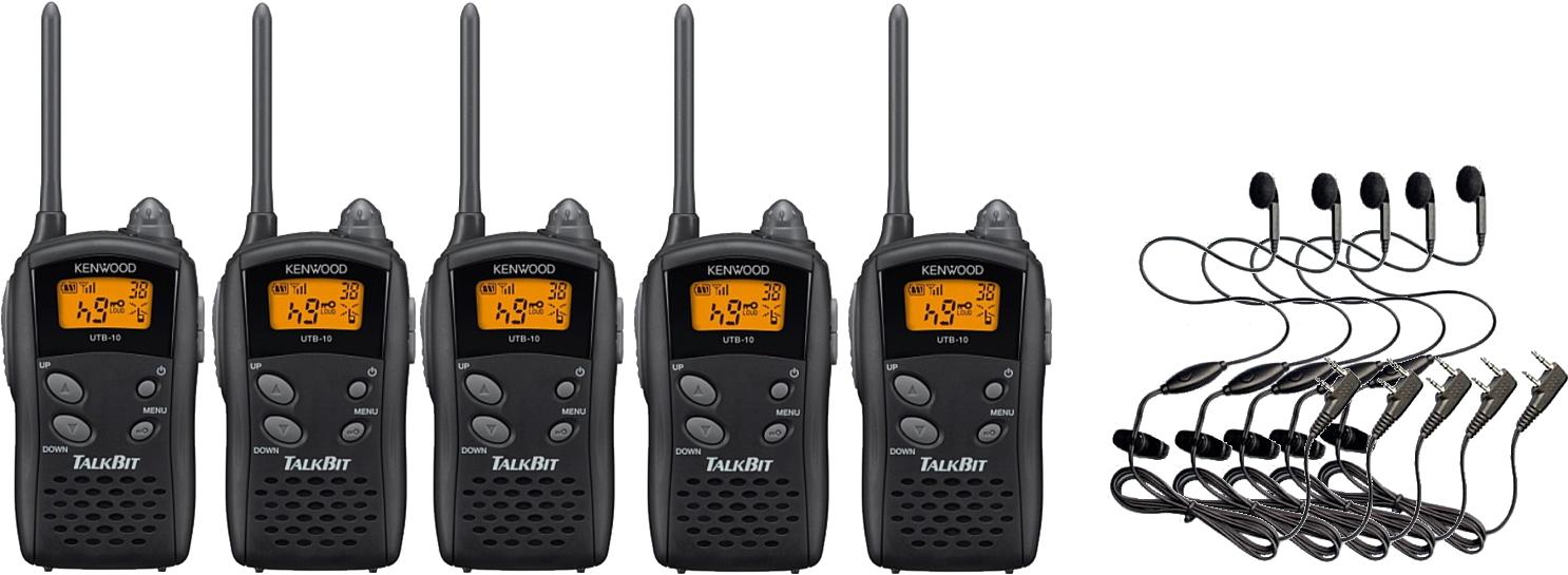トランシーバー 特定小電力 無線機 インカムケンウッド UTB-10×5 HD-12K オリジナル イヤホンマイク×5 セット