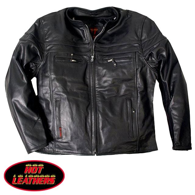 【送料無料!】米国直輸入! ホットレザー [Motorcycle Leather Jacket With Double Piping] モーターサイクル・レザー・ジャケット・ウィズ・ダブル・パイピング! 本革 ライダースジャケット ブラック 革ジャン 裏地メッシュ インナー取外OK! 通気性抜群 ベント機能装備!
