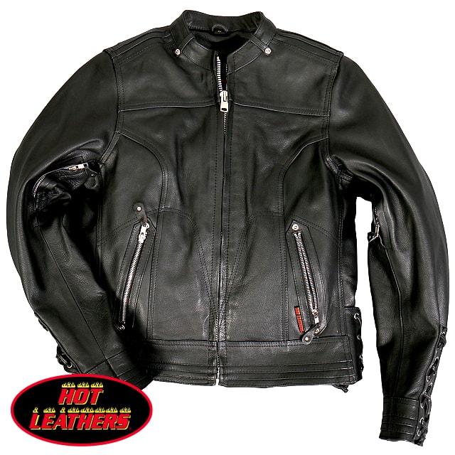 【送料無料!】日本未発売! 米国直輸入! セール価格! ホットレザー [Lace Up Sleeves Leather Jacket] レースアップ・スリーブ・レザー・ジャケット! 本革 レディース シングルライダース! アウター 編み上げ バイク バイカー ブラック 大きいサイズ