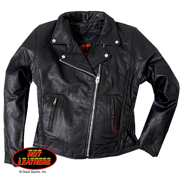 【送料無料!】日本未発売! 米国直輸入! セール価格! ホットレザー [Braided Motorcycle Leather Jacket] ブレイデッド・モーターサイクル・レザー・ジャケット! 本革 レディース ダブルライダース! アウター 編み込み バイク バイカー ブラック 大きいサイズ