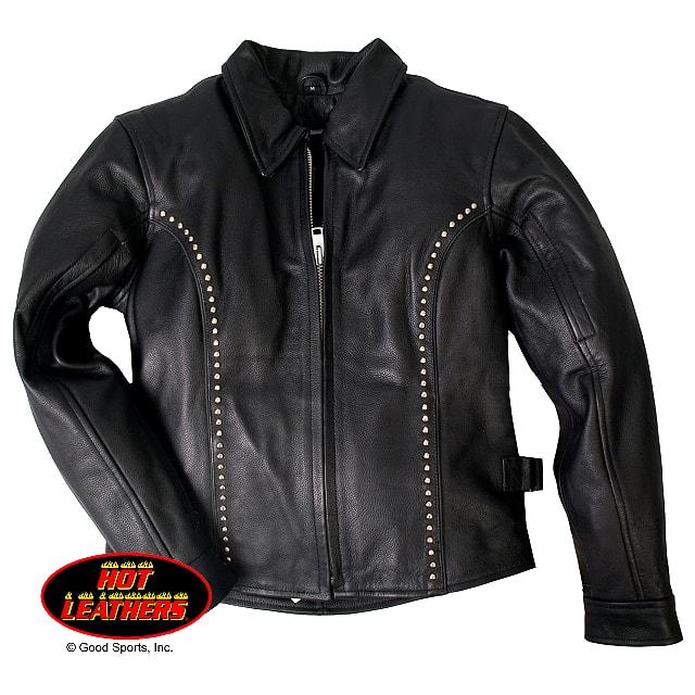 【送料無料!】日本未発売! 米国直輸入! セール価格! ホットレザー [Ladies Leather Jacket with Round Studs] レディース・レザー・ジャケット・ウィズ・ラウンド・スタッズ! 本革 ライダース アウター バイク バイカー ブラック